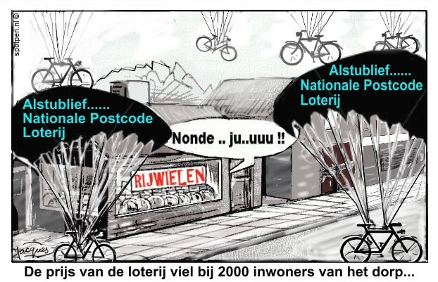 postcode loterij straatprijs cartoon