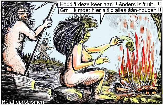 cartoon oermens vuurplaats neanderthalers