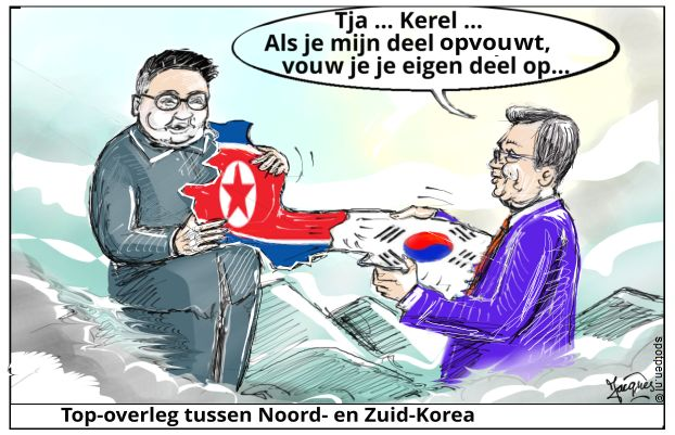 Noord-Korea cartoon Zuid-Korea