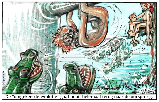 evolutie cartoon omgekeerd
