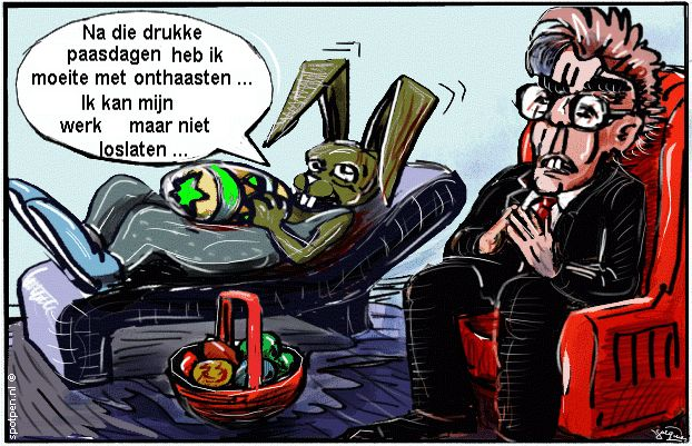 cartoon paashaas en psycholoog