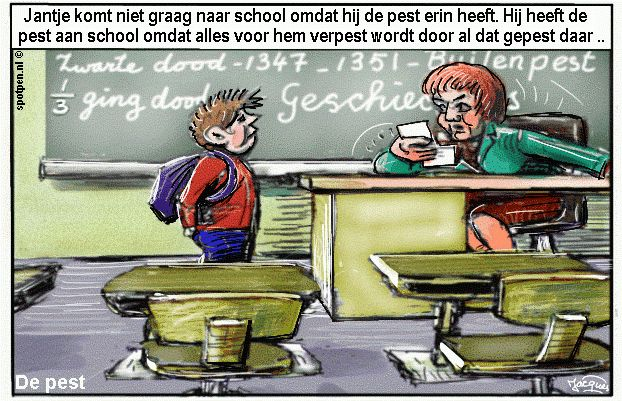 cartoon pesten klas school de pest