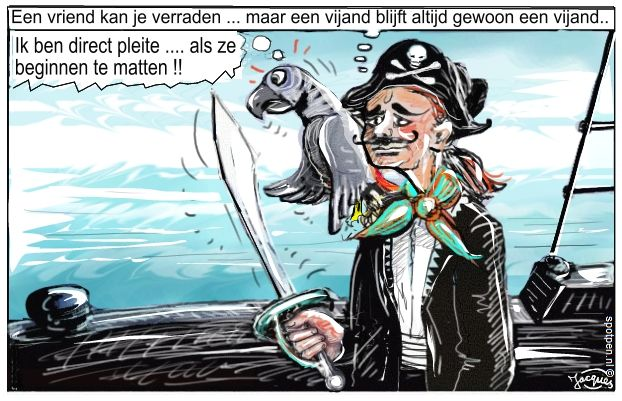 Cartoon  zeerovers piraten kapers papegaai boekaniers