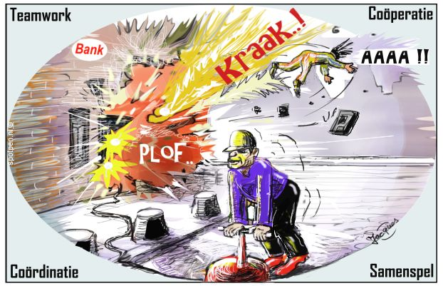 Plofkraak cartoon