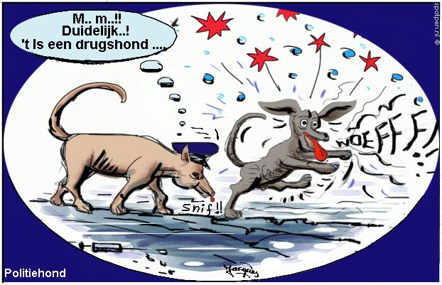 Cartoon -   drugshond - politiehond