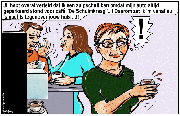 Roddelen, roddel, achterklap cartoon