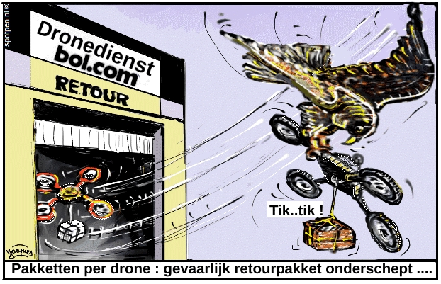 Roofvogels cartoon drones