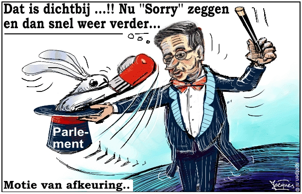 Rutte cartoon goochelaar