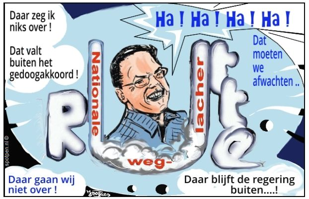 cartoon  lachen Rutte VVD