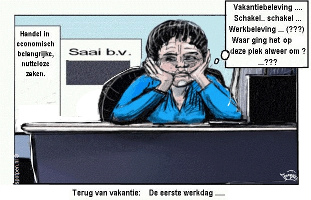 Cartoon saai motivatie werkbeleving arbeidsmotivatie
