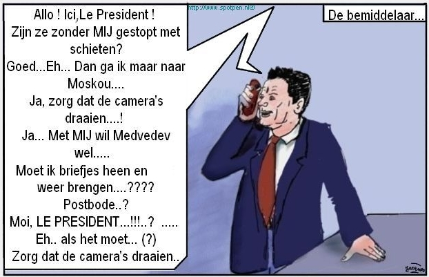 Bemiddelaar cartoon Rusland Georgie Sarkozy