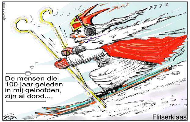 Sinterklaas op de ski's  cartoon