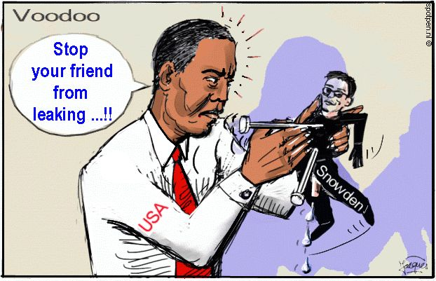 Voodoo cartoon Obama Snowden leaking