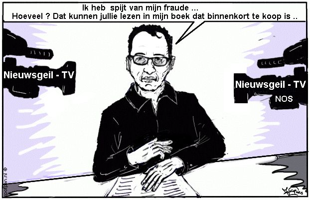 Cartoon Stapel   Diederik - fraude - professor - tv camera