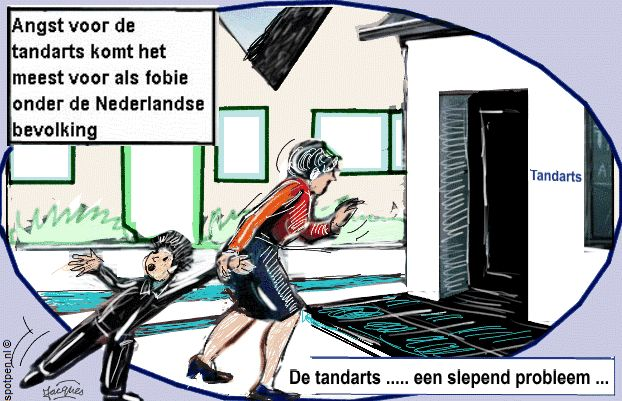 Fobieën angst tandarts  cartoon