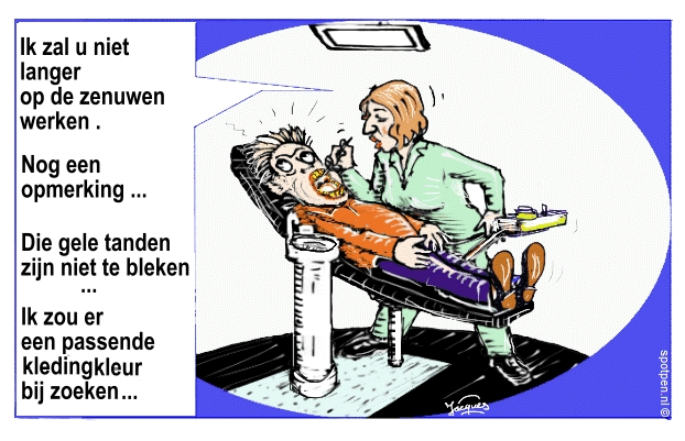 tandarts  cartoon gele tanden zenuwen