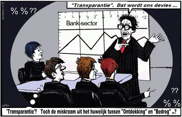 Cartoon banken  transparantie