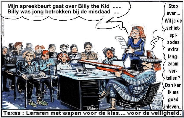 Wapens, USA, Amerika, school & schietpartijen  cartoon