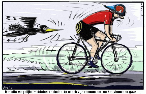cartoon Wielrenner Tour de France doping