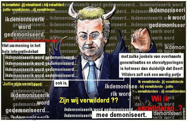 cartoon wilders satan duivel demon djinn geert