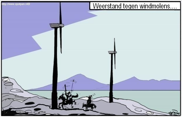 windmolens - Don Quichot cartoon  windenergie