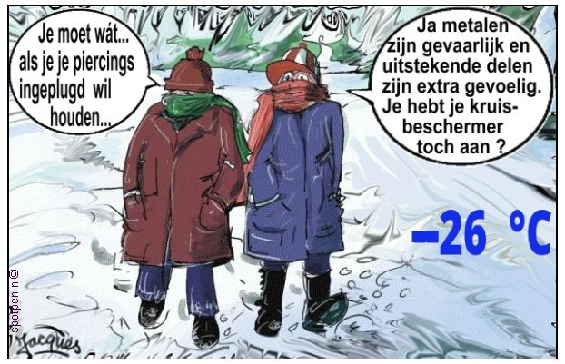 Metalen piercings cartoon  uitstekende lichaamsdelen winter