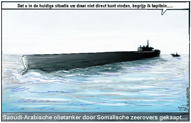 piraten  cartoon olietanker Somalië