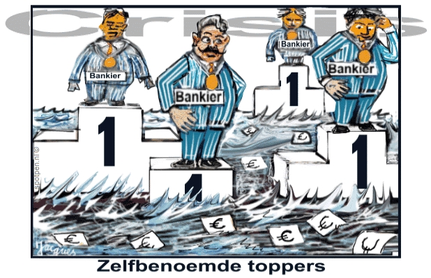 bankiers cartoon bonussen toppers