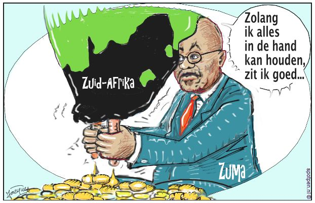 melken cartoon Zuma melkt  Zuid-Afrika